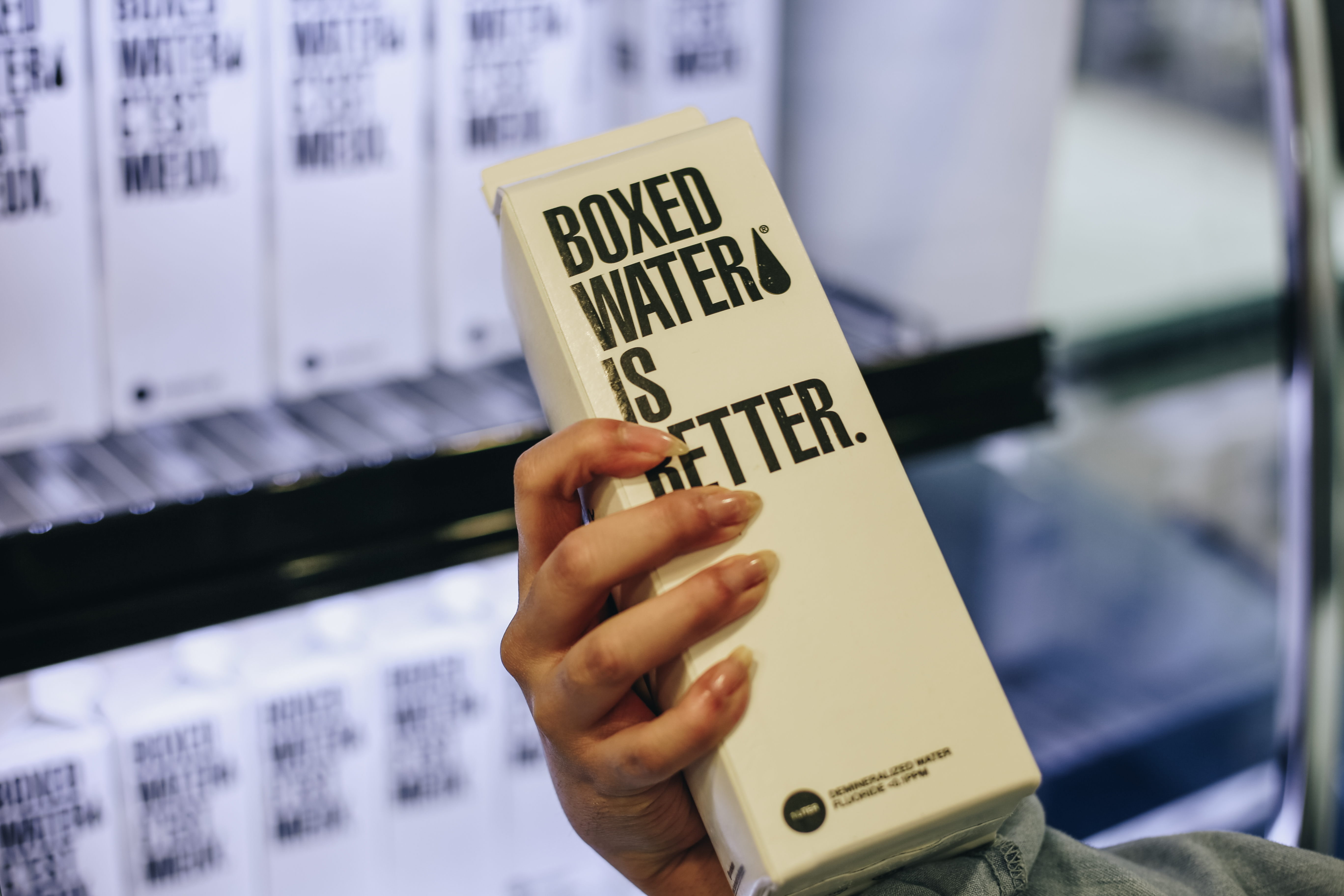 Bye-bye plastic, hello boxed water In an effort to promote sustainability and healthy active living, Union Market has phased out plastic water bottles
