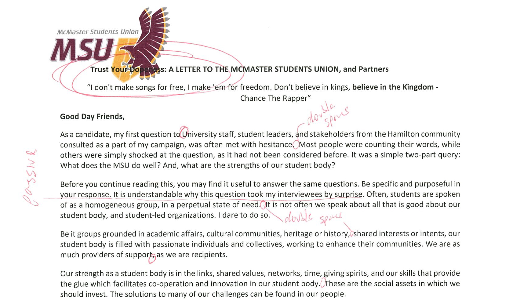 The ying and yang of style and substance The open letter from the President of the MSU is redeemed by the yearlong plan