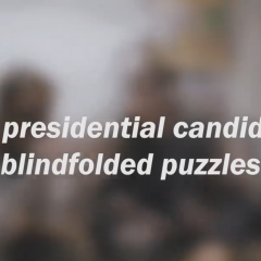 MSU presidential candidates: blindfolded puzzles Some were successful and some were... less successful