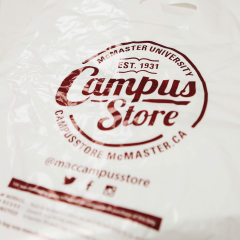 The Campus Store is swapping maroon for green In an effort to reduce the impact of plastic on the environment, the McMaster campus store will stop selling single-use plastic bags
