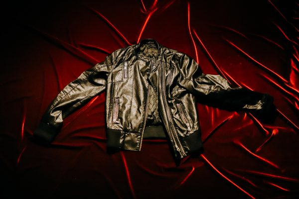 A jacket on a red background.