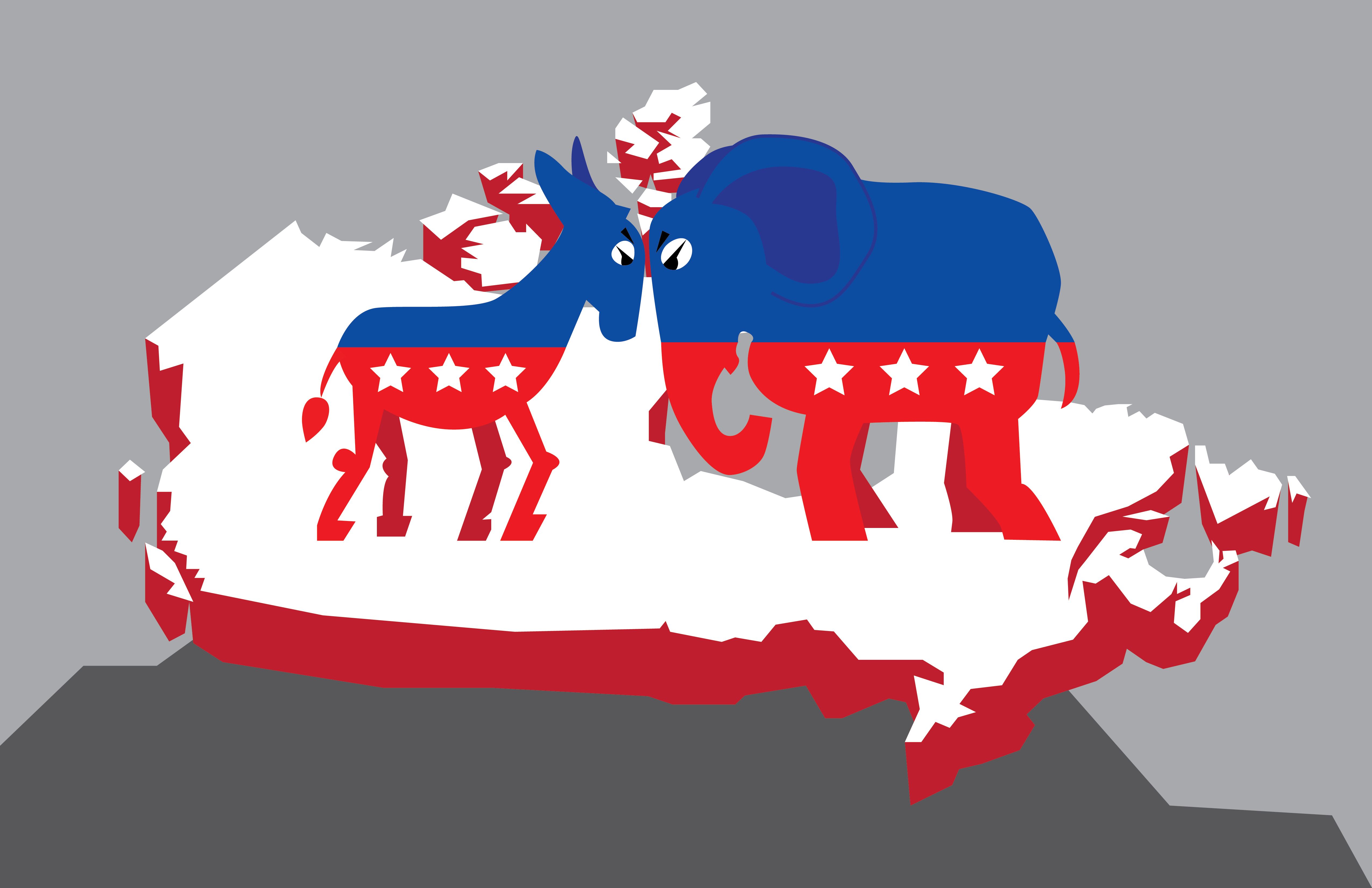 A donkey representing the Republican Party and an elephant representing the Democratic Party are head to head on top of the map of Canada.
